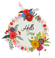 Hello with cute floral wreath calligraphy Letter vector image vector image