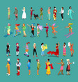 isometric people women set female characters vector image