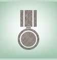 medal sign brown flax icon vector image