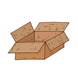 open brown box hand drawn doodle vector image