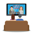people watching news on tv vector image vector image