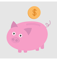 Piggy bank and dollar coin Card vector image vector image