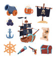 pirate paraphernalia isolated on white vector image vector image