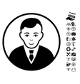 Rounded Gentleman Icon With Flying Drone Tools vector image vector image
