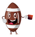 rugball is holding mug on white background vector image vector image