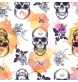seamless pattern with human skulls and roses drawn vector image vector image
