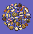set of drawing nuts vector image