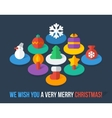 Set of isometric colorful Christmas flat icons vector image vector image
