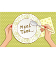 Spoon in hand on the background with plate vector image vector image