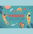 summer vacation people beach and sea in retro vector image