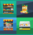 supermarket 2x2 flat design concept vector image vector image