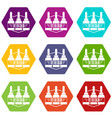 tattoo color icons set 9 vector image