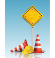 Traffic cones and yellow sign with hard cap vector | Price: 1 Credit (USD $1)