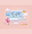 traveling on airplane planning a summer vacation vector image