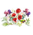 Watercolor hand drawn pattern with summer flowers vector image vector image