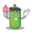 with ice cream price tag character cartoon vector image