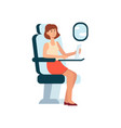 woman using laptop while sitting in airplane near vector image vector image