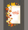wood fall leaves on dark background vector image vector image