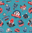 baseball logo badge seamless pattern background vector image