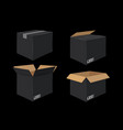 set of four cardboard boxes open and closed black vector image
