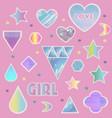 fashion glitter girl stickers set vector image
