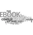 a guide to ebook compilers text word cloud concept vector image vector image