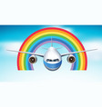 airplane flying in blue sky with rainbow vector image vector image