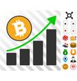 bitcoin grow up chart icon with bonus vector image vector image