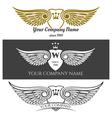 black angel wings logo set winged labels vector image