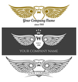 Black angel wings logo set winged labels with vector image