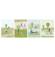 cards set with people spending weekend in city vector image vector image