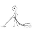cartoon of man cleaning floor or carpet with vector image