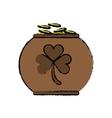 cartoon pot full coins shamrock decoration vector image vector image