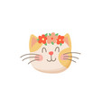 cat with flowers in head isolated beige kitten vector image vector image