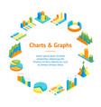 charts and graphs banner card circle 3d isometric vector image