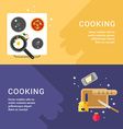 Cooking Concept Set of Web Banners Pan with Fried vector image vector image