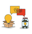 crowdfunding poster with cardboard box and light vector image vector image