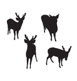 deer set silhouettes on white background vector image