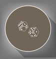 dices sign white icon on brown circle vector image vector image