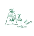 doodle save water concept vector image vector image