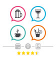 drinks signs coffee cup glass of beer icons vector image vector image