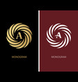 gold and white round emblem with the letter vector image vector image