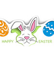 happy easter greeting card with cute white bunny vector image vector image