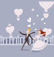 happy newlywed couple running vector image vector image