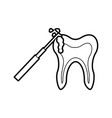 human tooth with dental drill vector image vector image