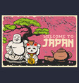 japanese sakura lucky cat bonsai and tea set vector image
