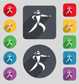 Karate kick icon sign A set of 12 colored buttons vector image vector image