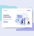 landing page template of creative authorship vector image vector image