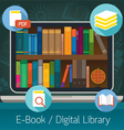 Laptop and books E-Book and Digital Library vector image vector image
