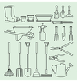 Linear set of garden tools and access vector image